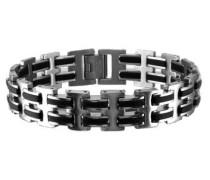 Armband aus Edelstahl mit Kautschuk silber