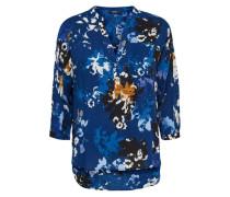 Blumen-Hemd mit 3/4 Ärmeln blau