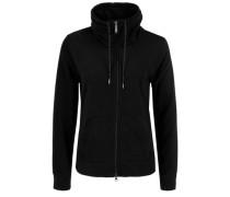 Fleece-Jacke mit großem Kragen schwarz