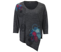 Oversized-Shirt 3/4 Ärmel himmelblau / graumeliert / himbeer