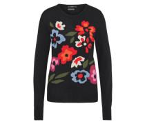 Strickpullover mit floralem Muster schwarz
