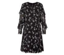Schwingendes Rüschenkleid mit Rispendruck schwarz / weiß