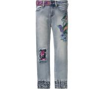 7/8 Jeans mit Patches für Mädchen blau