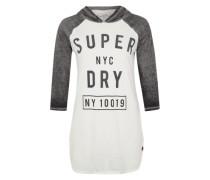 Printshirt mit Kapuze weiß / grau