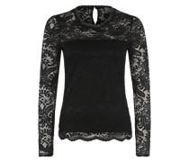 Langarm-Shirt mit Spitze 'Vmceleb' schwarz