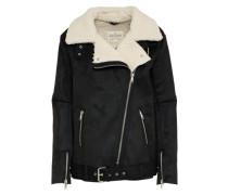 Mantel aus Lederimitat 'Shearling' schwarz / naturweiß