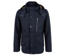Herringbone-Wolljacke mit Kapuze blau