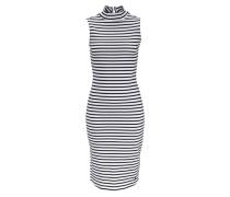 Jerseykleid mit Stehkragen gestreift schwarz / weiß