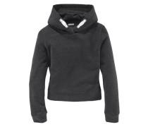 Kapuzensweatshirt in kurzer Form für Mädchen anthrazit