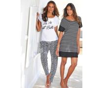 Pyjama schwarz / weiß