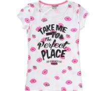 T-Shirt für Mädchen rosa / schwarz / weiß
