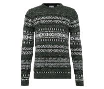 Pullover 'onsOMAS Crew Neck Knit' dunkelgrün / schwarz / weiß