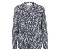 Leichte Bluse mit Rüschen creme / dunkelblau