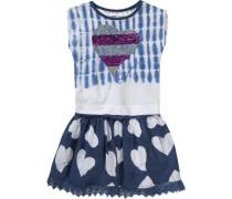 Kinder Jerseykleid mit Wendepailletten und Häkelspitze blau
