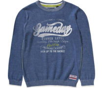 Pullover für Jungen blau / kiwi / wollweiß