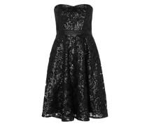 Schulterfreies Pailletten-Kleid schwarz