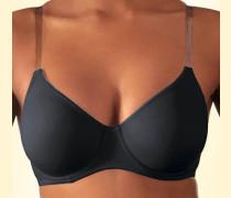 T-Shirt-BH ohne Schale transparente Trägern schwarz