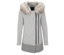 Wollmantel mit Fake Fur grau / dunkelgrau