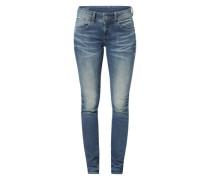 'Lynn' Skinny Jeans mit Used Waschung dunkelblau