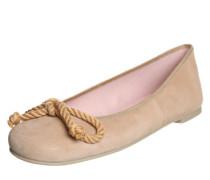 Lederballerina mit Schleife 'Angelis' hellbraun