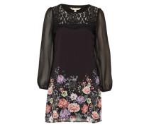 Kleid in Chiffon-Optik mit Blumen-Print mischfarben / schwarz