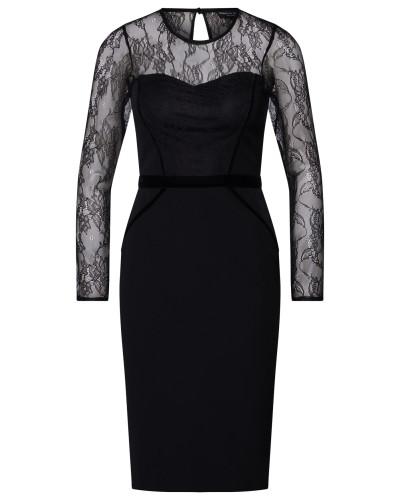 Kleid 'lace Contrast Velvet Trim Pencil'