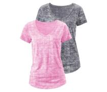 Shirt mit V-Ausschnitt (2 Stück) graumeliert / pinkmeliert