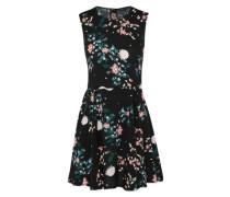 Sommerkleid mit Blumen-Print mischfarben / schwarz