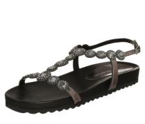 Sandalette mit Ziersteinen grau / silber