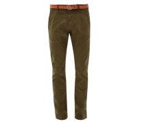 Sneck Slim: Coloured Chino mit Gürtel khaki