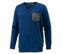 V-Pullover blau