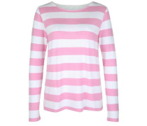 Sweatshirt 'fleece Stripe' pink / weiß