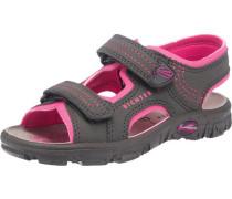 Sandalen für Mädchen dunkelgrau / dunkelpink