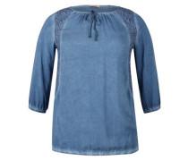 'O-Shape' Bluse mit Wascheffekt rauchblau / blue denim