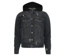 'dnm JKT Hood Blk' Jeans Jacke black denim