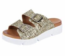 Sandalette mit Glitter gold