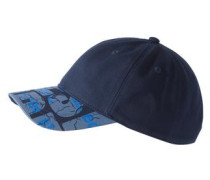 Cap mit Schild-Print nachtblau / cyanblau / taubenblau