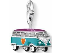 Charm-Einhänger 'VW-Bus 0881-007-7' petrol / neonlila / mischfarben / neonorange / schwarz / silber