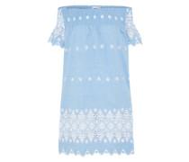 Minikleid mit Carmen-Ausschnitt hellblau / weiß