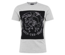 T-Shirt 'T-Edward' mit Marken-Applikation vorne hellgrau / schwarz