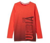 Slim: Longshirt mit Print grau / rot