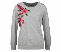Sweatshirt 'Taccina' grau / grasgrün / rot