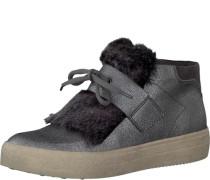 Sneaker in Lackleder-Optik und mit Fellimitat grau
