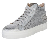 Hohe Sneaker in Metallic-Optik silber