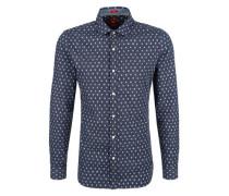 Slim: Twill-Hemd mit Musterprint blau / naturweiß