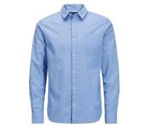 Langarmhemd Leinen- blau