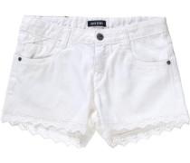 Jeansshorts mit Spitze für Mädchen weiß