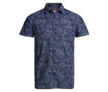 Blumen-Print-Kurzarmhemd blau