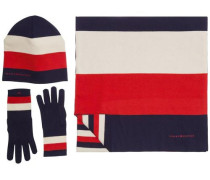 Accessoire 'essential Scarf & Beanie Giftpack' navy / rot / naturweiß