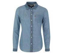 Denim-Bluse mit Brusttasche blau